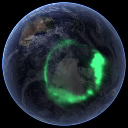 Snímek Anarktidy z vesmíru ilustruje prstencovitý tvar polární záøe