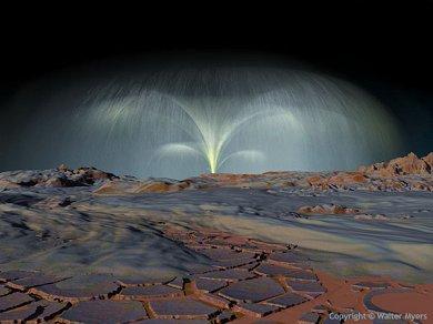 Gejzír kapalného oxidu siřičitého na měsíci IO se ve výšce několika kilometrů vypařuje a k povrchu dopadá jako zmrzlý sníh