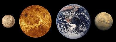 Srovnání velikosti vnitøních planet sluneèní soustavy, Merkur je vlevo