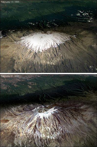 Úbytek pevninského ledovce na Kilimandžáru