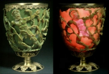 The Lycurgus Cup when lit from outside and inside